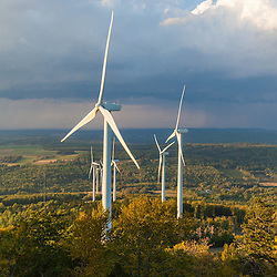 Wind turbines on Mars Hill as seen from the International Appalachian Trail in Mars, Hill, Maine.
