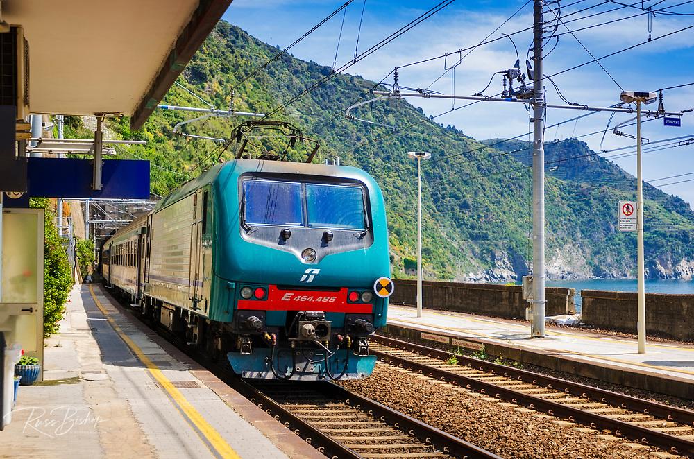 Corniglia stop on the Cinque Terre railway, Liguria, Italy