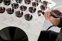 23 July, 2008. New York, NY. A wine panel tastes 25 bottles of Cote-du-Rhone at the New York Times building. The wine panel is composed of New York Times chief wine critic Eric Asimov, New York Times food writer Florence Fabricant, wine director Chris Goodhart of the Balthazar restaurant, and wine director Belinda Chang of The Modern restaurant. <br /> <br /> &copy;2008 Gianni Cipriano for The New York Times<br /> cell. +1 646 465 2168 (USA)<br /> cell. +1 328 567 7923 (Italy)<br /> gianni@giannicipriano.com<br /> www.giannicipriano.com