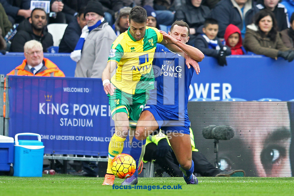 Ivo Pinto of Norwich and Danny Drinkwater of Leicester City in action during the Barclays Premier League match at the King Power Stadium, Leicester<br /> Picture by Paul Chesterton/Focus Images Ltd +44 7904 640267<br /> 27/02/2016