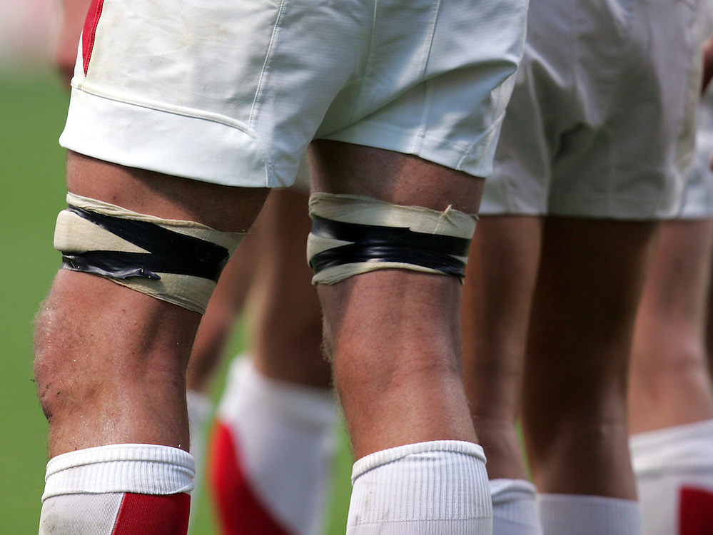 A general view of strapping on England players legs. England v USA, Rugby World Cup 2007, Lens, France, 8th September 2007.