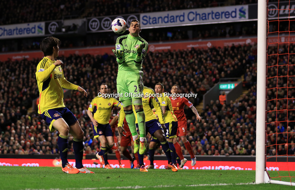 26th March 2014 - Barclays Premier League - Liverpool v Sunderland - Sunderland goalkeeper Vito Mannone catches the ball - Photo: Simon Stacpoole / Offside.