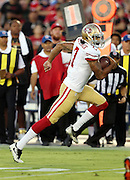 San Francisco 49ers quarterback Colin Kaepernick (7) runs the ball in the first quarter during the 2016 NFL preseason football game against the San Diego Chargers on Thursday, Sept. 1, 2016 in San Diego. The 49ers won the game 31-21. (©Paul Anthony Spinelli)