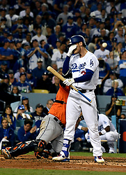 November 1, 2017 - Los Angeles, CA, USA - Los Angeles Dodgers' Cody Bellinger (35) wipes his face after taking a bad swing in the 3rd inning of game seven of a World Series baseball game at Dodger Stadium on Wednesday Nov. 1, 2017 in Los Angeles. (Credit Image: © Keith Birmingham/Los Angeles Daily News via ZUMA Wire)