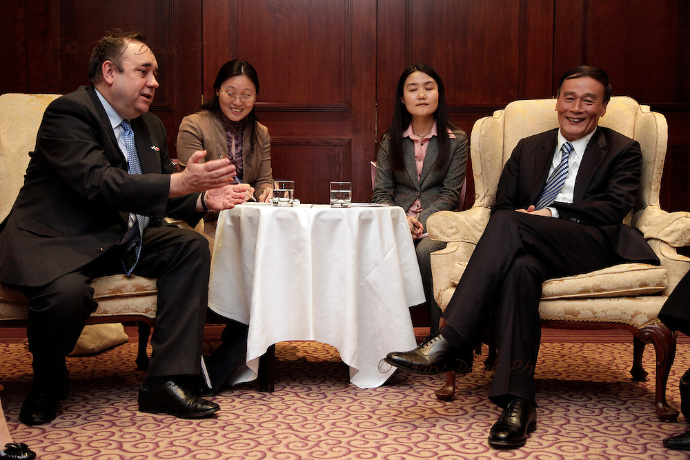 Scotland's First Minister Alex Salmond meets and greets China's Vice-Premier Wang ahead of talks..Sheraton Hotel, Edinburgh