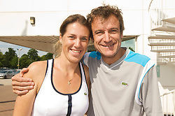 NOTTINGHAM, ENGLAND - Sunday, June 14, 2009: Olga Savchuk (UKR) with Mats Wilander (SWE) on finals day of the Tradition Nottingham Masters tennis event at the Nottingham Tennis Centre. (Pic by David Rawcliffe/Propaganda)