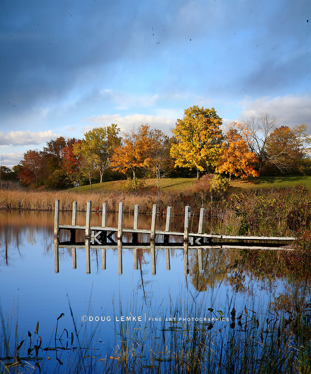A Boat Dock And Pond In Autumn, Southern Michigan, USA