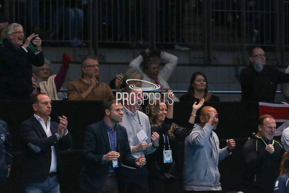 Kim Sears girlfriend of Andy Murray (Great Britain) celebrates him winning the Championship Trophy during the final of the Barclays ATP World Tour Finals at the O2 Arena, London, United Kingdom on 20 November 2016. Photo by Phil Duncan.