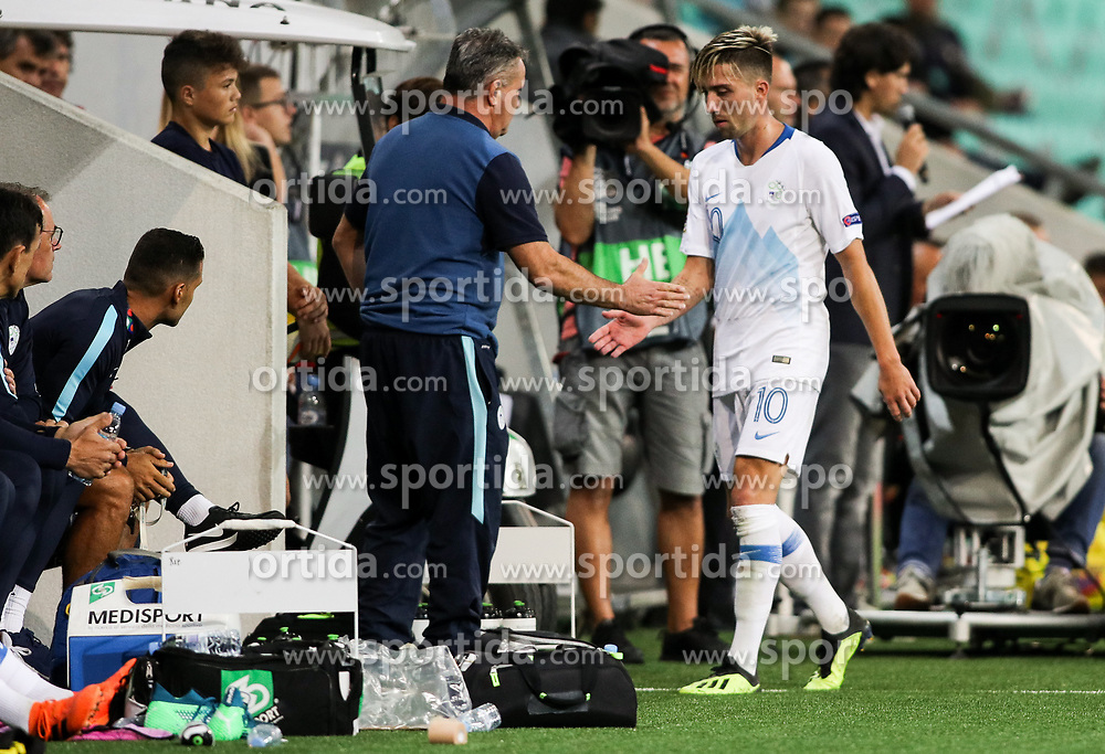 Tomaz Kavcic, head coach of Slovenia and Kevin Kampl of Slovenia during football match between National Teams of Slovenia and Bulgaria in Final Tournament of UEFA Nations League 2019, on September 6, 2018 in SRC Stozice, Ljubljana, Slovenia. Photo by Morgan Kristan / Sportida