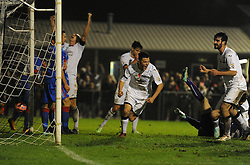 Liam Monelle of Weston Super Mare celebrates. - Photo mandatory by-line: Alex James/JMP - Mobile: 07966 386802 - 18/11/2014 - SPORT - Football - Weston-super-Mare - Woodspring Stadium - Weston-super-Mare v Doncaster - FA Cup - Round One