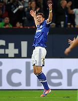 FUSSBALL   1. BUNDESLIGA  SAISON 2012/2013   7. Spieltag   FC Schalke 04 - VfL Wolfsburg        06.10.2012 Roman Neustaedter (FC Schalke 04) bejubelt seinen Treffer zum 3:0