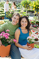 Happy Couple at Garden Nursery