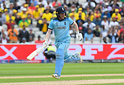 Eoin Morgan of England running while batting during the ICC Cricket World Cup 2019 semi final match between Australia and England at Edgbaston, Birmingham, United Kingdom on 11 July 2019.