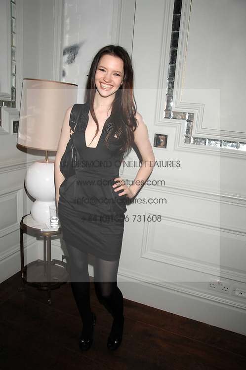 Actress TALULAH RILEY at a party to launch the Dom Perignon OEotheque 1995 held at The Landau, Portland Place, London W1 on 26th February 2008.<br />