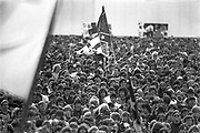 A huge crowd at Donington Rock Festival, UK, 1980's.