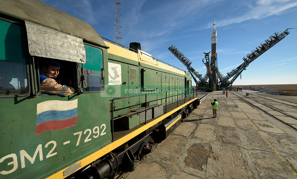 The Soyuz rocket is seen after being rolled out by train to the launch pad, Tuesday, Oct. 9, 2018 at the Baikonur Cosmodrome in Kazakhstan. Expedition 57 crewmembers Nick Hague of NASA and Alexey Ovchinin of Roscosmos are scheduled to launch on October 11 and will spend the next six months living and working aboard the International Space Station. Photo Credit: (NASA/Bill Ingalls)