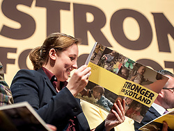 SNP's Mhairi Black - the youngest MP in the last parliament - looks through the manifesto prior to it's  launch.<br /> <br /> © Dave Johnston/ EEm