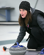 Caitlin Maroldo shouts instructions to teammates during a match at Rochester Curling Club on Sunday, February 8, 2015.