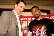 IBF, WBO and IBO heavyweight champion Wladimir Klitschko and David Haye promote Heavyweight title fight which will take place in front of up to 60,000 spectators when he takes on David Haye at the Veltins-Arena in Schalke, homefield of German Bundesliga team Schalke 04 on June 20. April 17th 2009, Germany.