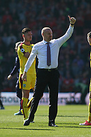 Football - 2016 / 2017 Premier League - AFC Bournemouth vs. Burnley<br /> <br /> Burnley Manager Sean Dyche gives the thumbs up to the traveling Burnley support at the Vitality Stadium (Dean Court) Bournemouth<br /> <br /> COLORSPORT/SHAUN BOGGUST