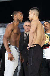 January 25, 2019 - New York, New York, United States - Claudio Marrero and Tugstsogt Nyambayar attend official weigh-in for WBA World Welterweight Championship at Barclays Center  (Credit Image: © Lev Radin/Pacific Press via ZUMA Wire)
