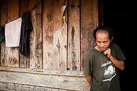 Wa Meng Ha, an ethnic minority farmer at his home in rural Xieng Khouang province, Laos.
