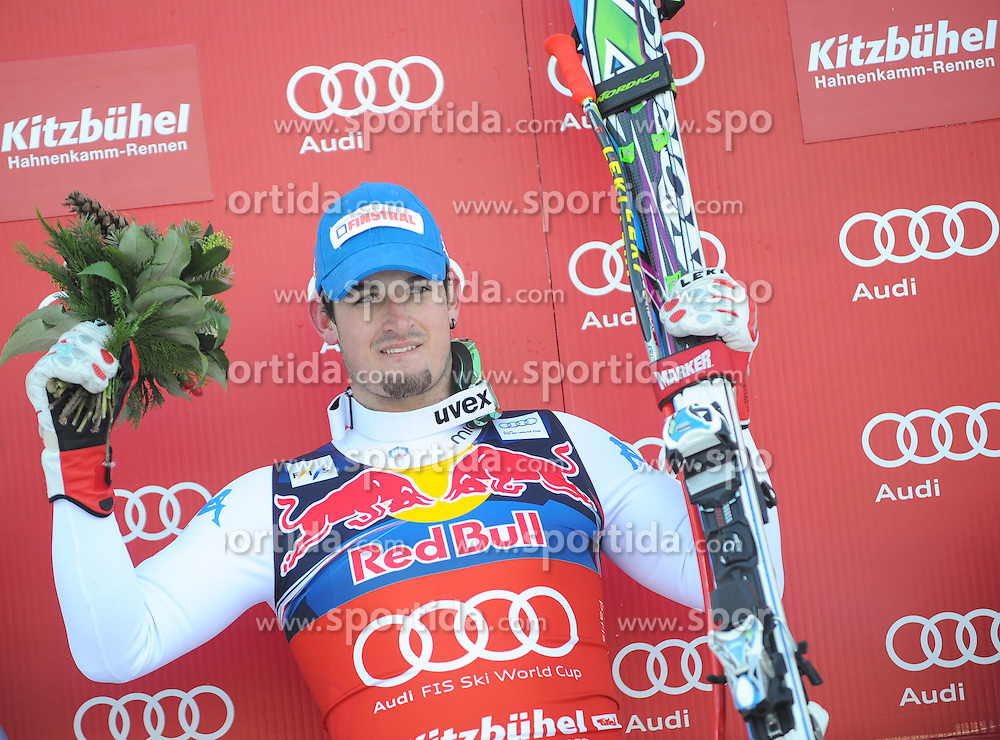 26.01.2013, Streif, Kitzbuehel, AUT, FIS Weltcup Ski Alpin, Abfahrt, Herren, Podium, im Bild Dominik Paris (ITA, 1. Platz) // 1st place Dominik Paris of Italy celebrate on podium during the mens Downhill of the FIS Ski Alpine World Cup at the Streif course, Kitzbuehel, Austria on 2013/01/26. EXPA Pictures © 2013, PhotoCredit: EXPA/ Erich Spiess