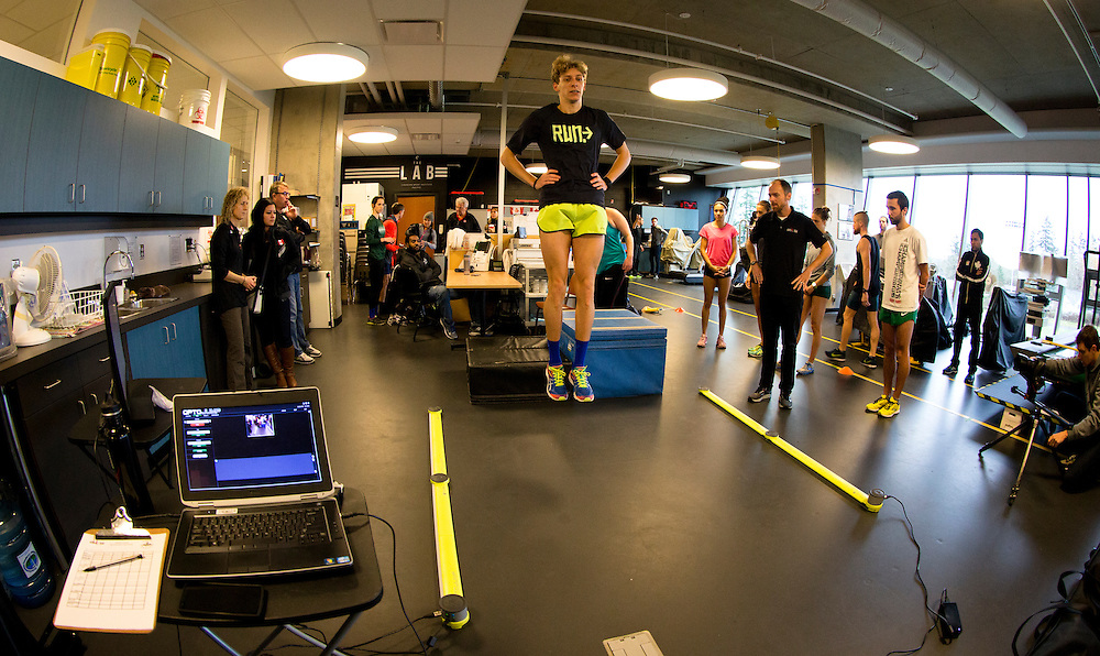 Charles Philibert-Thiboutot reactive strength index is tested with a drop jump to measure neuromuscular explosiveness and tendon stiffness at the Pacific Institute for Sport Excellence on December 3rd, 2015 in Victoria, British Columbia Canada.
