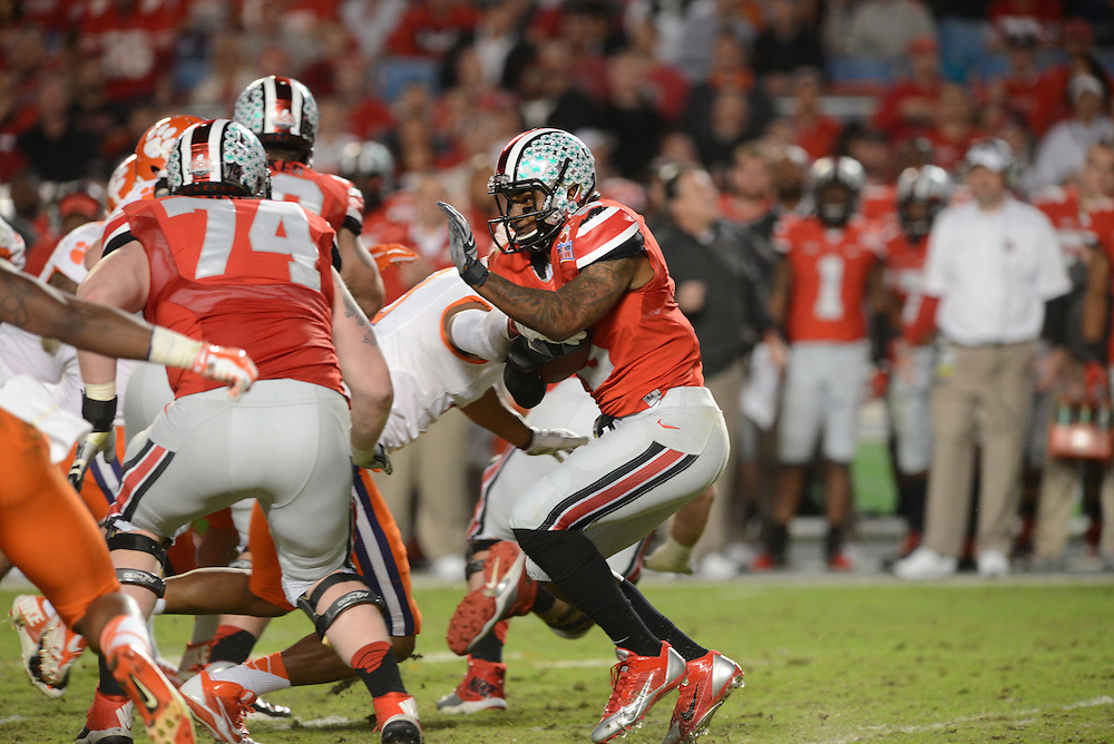 January 3, 2014: Braxton Miller #5 of Ohio State rushes upfield during the NCAA football game between the Clemson Tigers and the Ohio State Buckeyes at the 2014 Orange Bowl in Miami Gardens, Florida. The Tigers defeated the Buckeyes 40-35.