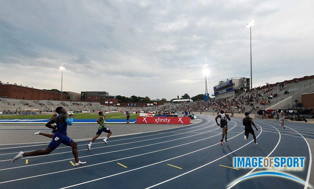 Jul 25, 2019; Des Moines, IA, USA; General overall  view of a 400m heat during the USATF Championships at Drake Stadium.