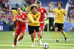June 23, 2018 - Moscow, Russia - Marouane Fellaini of Belgium in action during the 2018 FIFA World Cup Group G match between Belgium and Tunisia at Spartak Stadium in Moscow, Russia on June 23, 2018  (Credit Image: © Andrew Surma/NurPhoto via ZUMA Press)
