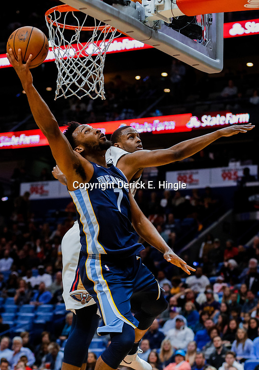 Jan 20, 2018; New Orleans, LA, USA; Memphis Grizzlies guard Wayne Selden (7) shoots over New Orleans Pelicans forward Darius Miller (21) during the first half at the Smoothie King Center. Mandatory Credit: Derick E. Hingle-USA TODAY Sports