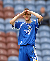 Photo: Paul Greenwood.<br />Burnley FC v Cardiff City. Coca Cola Championship. 09/04/2007. <br />Cardiff's Roger Johnson reacts to a missed opportunity
