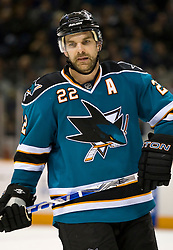 January 6, 2010; San Jose, CA, USA; San Jose Sharks defenseman Dan Boyle (22) during the overtime period against the St. Louis Blues at HP Pavilion.  San Jose defeated St. Louis 2-1 in overtime. Mandatory Credit: Jason O. Watson / US PRESSWIRE