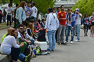 General view of the exterior of the stadium showing Real Madrid fans enjoying a picnic lunch pictured ahead of the UEFA Champions League Final at Estádio da Luz, Lisbon<br /> Picture by Ian Wadkins/Focus Images Ltd +44 7877 568959<br /> 24/05/2014