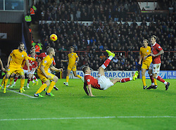 Bristol City's Aaron Wilbraham attempts an over head kick  - Photo mandatory by-line: Joe Meredith/JMP - Mobile: 07966 386802 - 22/11/2014 - Sport - Football - Bristol - Ashton Gate - Bristol City v Preston North End - Sky Bet League One