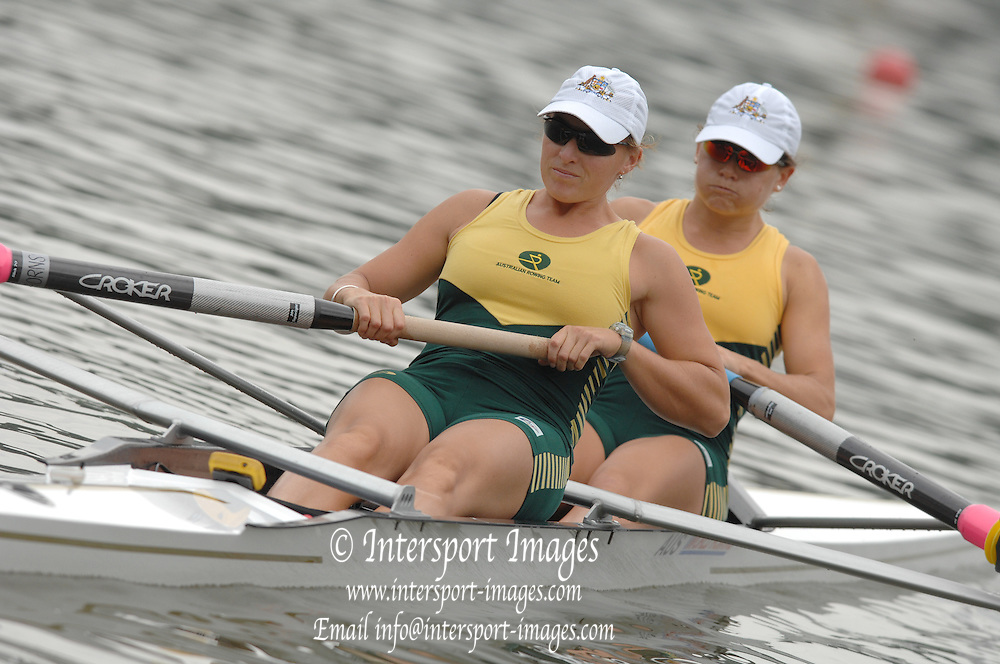 Amsterdam, HOLLAND, AUS W2-, bow sally KEHOE and Kate HORNSEY,  move away from the start,  at the 2007 FISA World Cup Rd 2 at the Bosbaan Regatta Rowing Course. [Date] [Mandatory Credit: Peter Spurrier/Intersport-images]..... , Rowing Course: Bosbaan Rowing Course, Amsterdam, NETHERLANDS