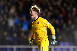 Dean Henderson of Shrewsbury Town celebrates as his side take the lead - Mandatory by-line: Dougie Allward/JMP - 17/10/2017 - FOOTBALL - Greenhous Meadow - Shrewsbury, England - Shrewsbury Town v Bristol Rovers - Sky Bet League One