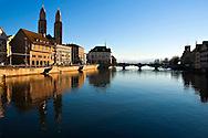 Reflection of Grossmunster Zurich Switzerland