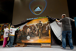 Thomas van Schaik, Head of Adidas global PR presents new painting of Nelson Mandela at Adidas central for FIFA World Cup 2010 on June 30, 2010 at Nelson Mandela Square in Sandton Convention Centre in Johannesburg. (Photo by Vid Ponikvar / Sportida)