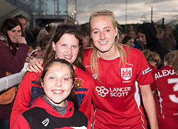 Millie Turner of Bristol City Women poses with young supporters - Mandatory by-line: Paul Knight/JMP - 20/05/2017 - FOOTBALL - Stoke Gifford Stadium - Bristol, England - Bristol City Women v Liverpool Ladies - FA Women's Super League Spring Series