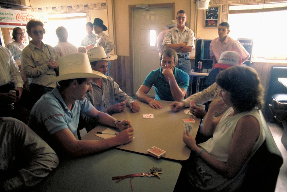 Playing cards in cafe, Arthur County, Nebraska