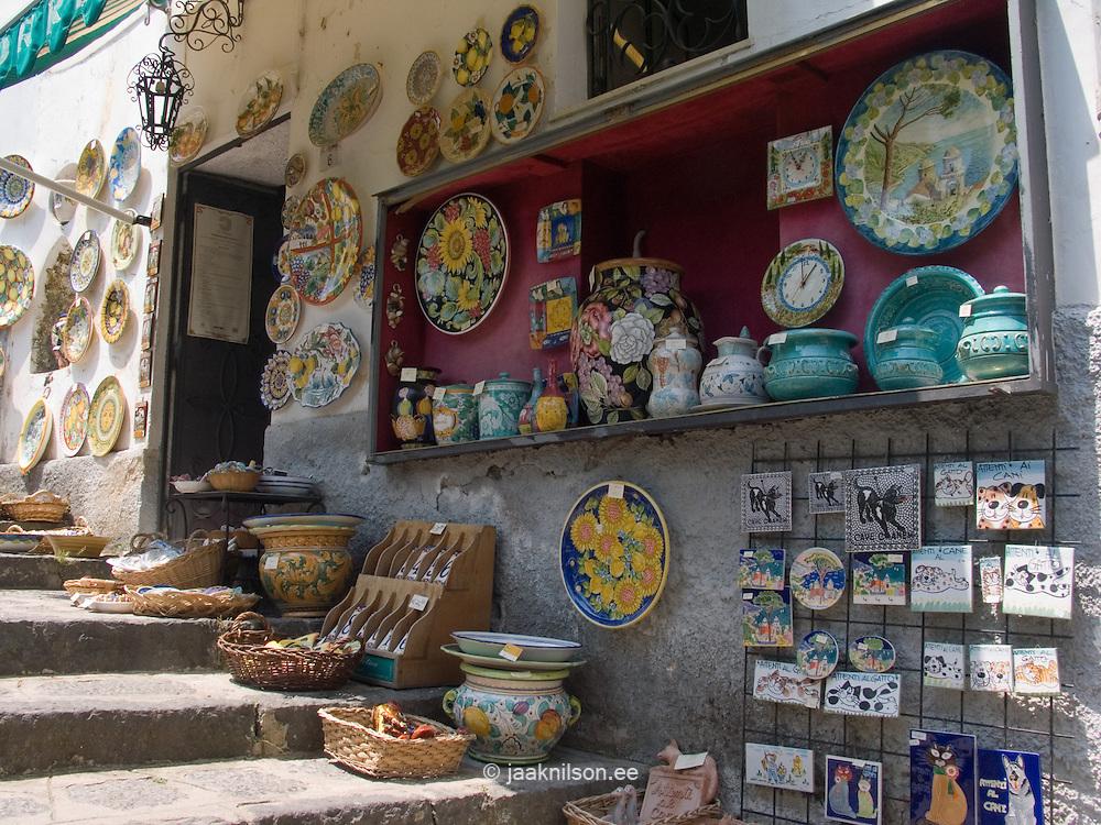 Handmade Ceramics in Gift Shop, Ravello, Amalfi Coast, Campania, Italy, Europe, World Heritage Site