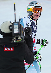 08.02.2013, Planai, Schladming, AUT, FIS Weltmeisterschaften Ski Alpin, Super Kombination, Slalom, im Bild Nicole Hosp (AUT, 2. Platz) // 2nd place Nicole Hosp of Austria reacts after Ladies Super Combined Slalom at the FIS Ski World Championships 2013 at the Planai Course, Schladming, Austria on 2013/02/08. EXPA Pictures © 2013, PhotoCredit: EXPA/ Sammy Minkoff