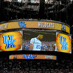 Apr 2, 2012; New Orleans, LA, USA; Kentucky Wildcats forward Anthony Davis (23) is shown on the jumbotron before the start of the finals of the 2012 NCAA men's basketball Final Four against the Kansas Jayhawks at the Mercedes-Benz Superdome. Mandatory Credit: Derick E. Hingle-US PRESSWIRE