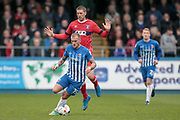 Lewis Alessandra (Hartlepool United) controls the ball under pressure during the EFL Sky Bet League 2 match between Hartlepool United and Carlisle United at Victoria Park, Hartlepool, England on 14 April 2017. Photo by Mark P Doherty.