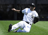 CHICAGO - JULY 06:  Carlos Quentin #20 of Chicago White Sox makes makes a sliding catch of a ball hit by Billy Butler #16 of the Kansas City Royals on July 6, 2011 at U.S. Cellular Field in Chicago, Illinois.  The Royals defeated the White Sox 4-1.  (Photo by Ron Vesely/MLB Photos via Getty Images)  *** Local Caption *** Carlos Quentin;Billy Butler