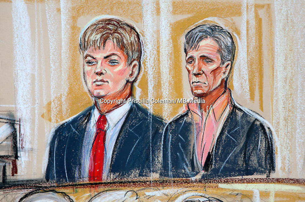 ARTWORK SHOWS: IAN STRACHAN AND SEAN MCGUIGAN IN THE DOCK AT THE OLD BAILEY, WHERE THEY HAVE BEEN FOUND GUILTY OF BLACKMAILING A MEMBER OF THE ROYAL FAMILY OVER ALLEGED GAY SEX TAPES.