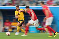 July 14, 2018 - Saint Petersburg, U.S. - SAINT PETERSBURG, RUSSIA - JULY 14: Forward Eden Hazard of Belgium National team in action with defender John Stones of England National team during the third place match between Belgium and England at the FIFA World Cup 2018 at the Saint Petersburg Stadium, Russia, Saturday, July 14, 2018. . (Photo by Anatoliy Medved/Icon Sportswire) (Credit Image: © Anatoliy Medved/Icon SMI via ZUMA Press)