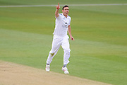 Kyle Abbott of Hampshire celebrates the wicket of Adam Voges of Middlesex during the Specsavers County Champ Div 1 match between Hampshire County Cricket Club and Middlesex County Cricket Club at the Ageas Bowl, Southampton, United Kingdom on 14 April 2017. Photo by David Vokes.
